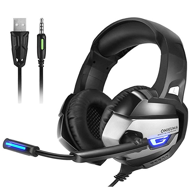 ONIKUMA K5 Best Gaming Headset Gamer Deep Bass Gaming Headphones for Computer PC PS4 Laptop Notebook with Microphone LED - Black & Gray