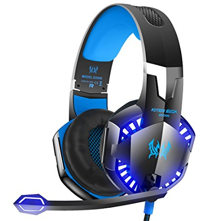 VersionTech G2000 Stereo Gaming Headset for Xbox one PS4 PC, Surround Sound Over-Ear Headphones with Noise Cancelling Mic, LED Lights, Volume Control for Laptop, Mac, iPad, Computer, Nintendo Switch, Wii U, -Blue