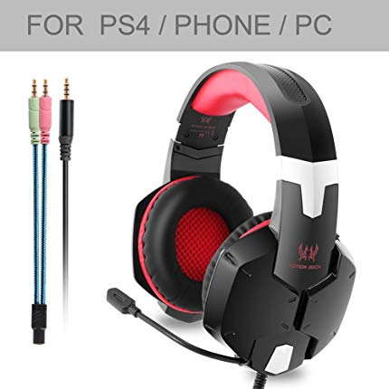 KOTION EACH G1200, Professional 3.5mm PC Stereo Gaming Headset, Bass Headphones, Comfortable Headband with in-line Mic, Integrated Microphone for PS4 PC Computer Laptop Mobile Phones (Red)