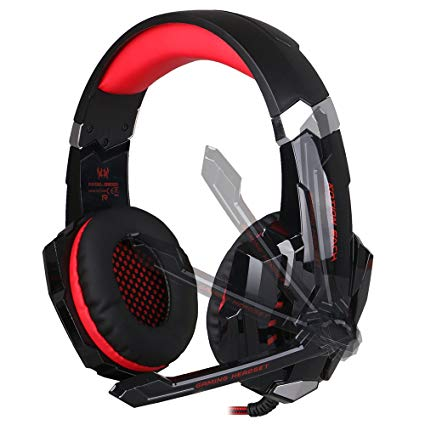 EasySMX Gaming Headphone Headset Earphone Headband with Mic LED Lighting Noise Cancellation and In-line Controller Compatible with PS4 Mobile Phones Laptop Tablet and Computer (Black and Red)