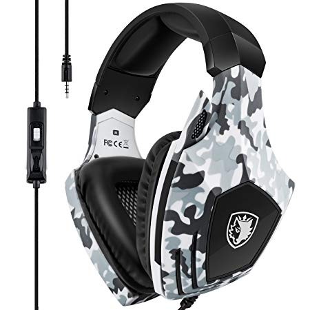 Gaming Headset for Xbox One, PS4, SADES Stereo PC Gaming Headset with Mic, Noise Cancelling Over Ear Gaming Headphones with Soft Memory Earmuffs for Laptop Mac Nintendo Switch Games