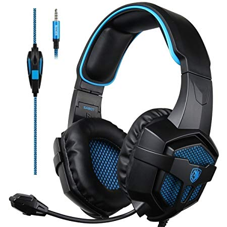 Sades Xbox One Stereo Gaming Headset Over-Ear Headphones with Noise Isolation Microphone for Sony PS4 PC Mac Laptop Tablet Phone - Black/Blue