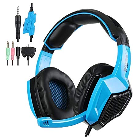 Sadse SA920 Professional Multifunction PS4 Stereo Sound Gaming Headset for Xbox One/ PC Gaming Headphones with Mic(Black & Blue)