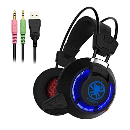 Defway Gaming Headset for PC PS4 Xbox One Laptop Noise Cancelling Over Ear Headphones with Microphone and Volume Control Wired Stereo Earphones for Women Men with LED Light, USB, 3.5mm Jack (black)