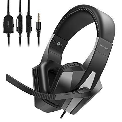 Wired Video Game Headset with Mic Monitor and Volume Controller, 3.5mm AUX Lightweight Headphone Cable Clip, Flexible Microphone Bar, Comfortable Headband, Soft Earmuffs, Over Ear Style, Black