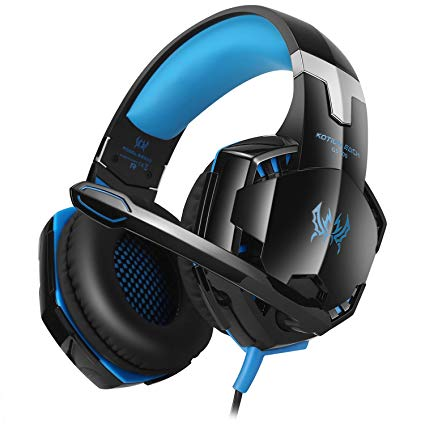 EasySMX Xbox 360 PS3 PS4 PC Multifunctional Wired Gaming Headset with Adjustable Mic In-line Controller One-key Mute (Black and Blue)