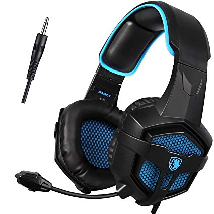 GW SADES SA807 PS4 3.5mm Wired Bass Stereo Noise Isolation Gaming Headset Headphones, Over Ear with Mic Volume Control for New Xbox One/PC/Mac/Smartphone/Laptop/Mac/iPad/iPod(Black/Blue)