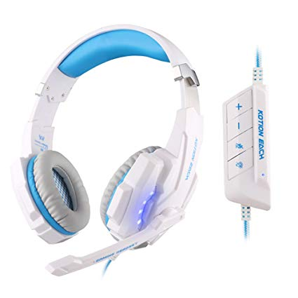 KOTION EACH G9000 USB 7.1 Surround Sound Version Game Gaming Headphone Computer Headset Earphone Headband with Microphone LED Light White