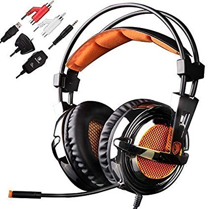 Sades SA928 Gaming headset Stereo Gaming Headset, Improved Version Gaming Headphone Over-Ear Headphone with Microphone for Xbox360 XboxOne PlayStation3 PlayStation 4 Mac Laptop PC Black+Orange