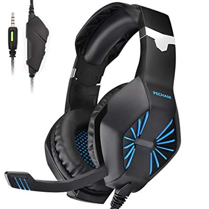 PECHAM A1 Gaming Headset with Mic for New Xbox One, PS4,Nintendo Switch, PC - Surround Sound, Noise Reduction Game Earphone - Easy Volume Control - 3.5MM Jack for Smart phone, Laptops, computer