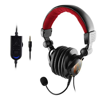 TKHOT PX461 Headband Gaming Headset 3.5mm Port Stereo Headphone Earphone for PS4 IPHONE IPAD SAMSUNG HUAWEI PC Game-RED&BLACK