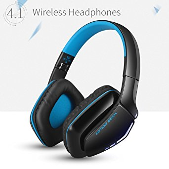 KOTION EACH B3506 V4.1 Bluetooth Headphones with Microphone,Noise Isolation Foldable Gaming Headset with Mic,Wired Headphones for PS4,Wireless Headsets for PC Mac Smartphones Computers Laptops (Blue)