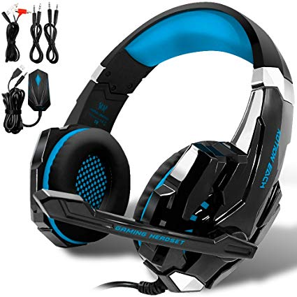 KOTION EACH GS900 XBOX 360 PS3 PS4 PC Gaming Headset AFUNTA Over Ear New Xbox One Headphone for Computer Laptop Laptop Smartphones With Mic-Black/Blue