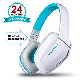 KOTION EACH B3506 V4.1 Bluetooth Headphones with Microphone,Noise Isolation Foldable Gaming Headset with Mic,Wired Headphones for PS4,Wireless Headsets for PC MacBook Smartphones Laptops (White)