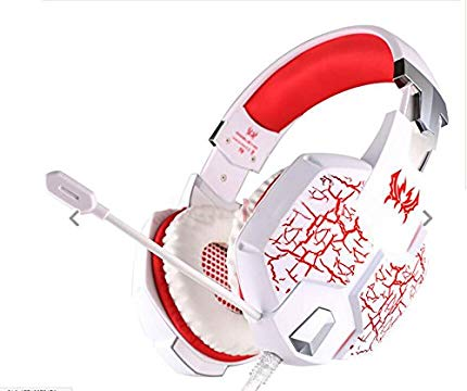 Gaming Headset, 3.5mm Wired Stereo Gaming Headphone Headband LED Lighting Over-Ear Noise Canceling Headset with Microphone & Volume Control for PC Computer, White