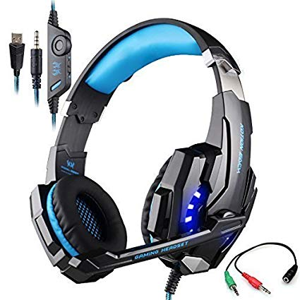 Game Headset, KOTION EACH G9000 3.5mm LED Light Gaming Headset/Headphone with Microphone for PlayStation 4 PS4 Tablet PC iPhone