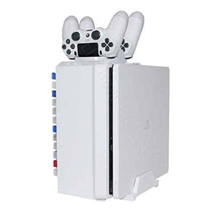 ElecGear Games Disk Tower, Vertical Stand, Dual Charger White Blu-ray DVD Disc Storage Organizer Holder, PS4 Controller Twin Charging Station for PlayStation PS4, Pro, Slim
