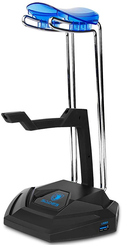 Sades W10 Gaming Headset Stand Holder with 3.5mm AUX Port and Three USB 3.0 Ports - Suitable for All Headphone Sizes