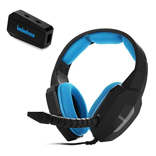 Badasheng Multi-platform Stereo Sound Gaming Headset BDS-939G For PS4 / PS3 / XBox 360 / Xbox One / PC / Mac / Smartphone / Tablet , Detachable Microphone (Blue)