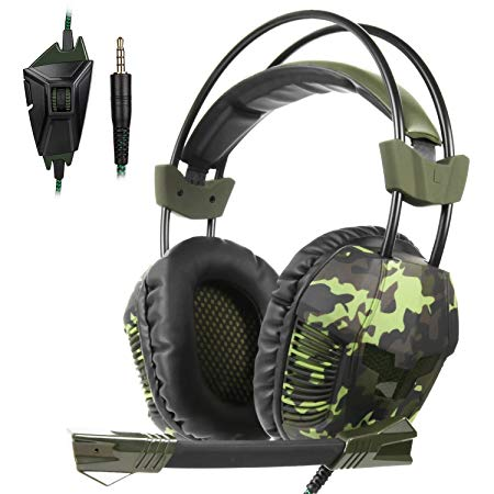 New Updated PS4 SA921 Gaming Headset,SADES SA921PLUS 3.5m Jack Stereo Over Ear Computer Gaming Headphone with Adjustale Mircrophone for Xboxone/PS4/Mac/Table/Phone/PC(Camo Green)