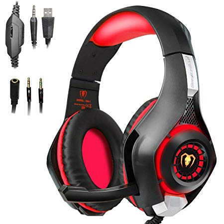 Beexcellent Gaming Headset with Mic for PS4, PC, Xbox One, Over Ear Game Headphones, Surround Sound, Noise Reduction, Easy Volume Control,3.5MM Jack and LED Lighting