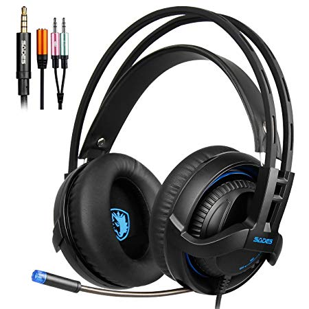 PS4 Gaming Headsets, SADES SA935 Gaming Headphone Surround Sound Stereo With Mic Over-ear Gaming Headphones 3.5MM Jack Multi-Platform For New Xbox One/PC/PS4/Smartphones