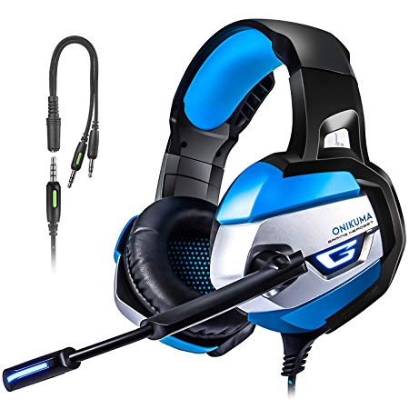 PS4 Gaming Headset, TUSBIKO Noise Cancelling Gaming Headphones with Microphone, LED Lights, Bass Surround Sound Over Ear Wired Headset for Xbox One, PC, Laptop, iPad, Mac, Nintendo Switch Games
