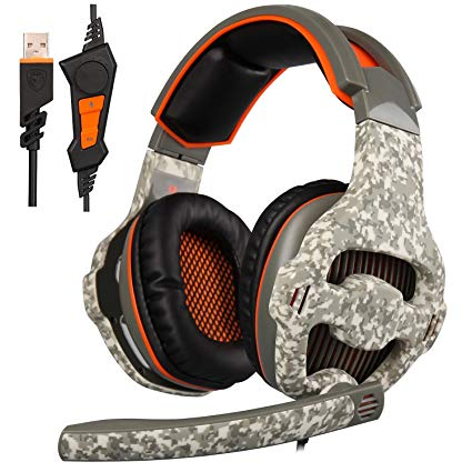 [2016 SADES New Released Luxury Gaming Headset ], SA918 Gaming Headsets Headphones With Mic Noise Canceling Vibration Tuner Function and LED Light For PC PS4 Laptop Mac (Camouflage)
