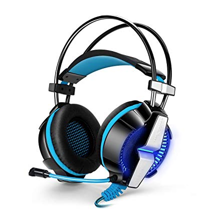 VOXLINK KOTION EACH GS700 3.5mm Gaming Game Headset Headphone Earphone Headband with Mic Stereo Bass LED Light for PS4 PC Computer Laptop Mobile Phones (Blue)