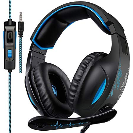 Sades SA816 Gaming Headset Over Ear Stereo Headphones With Noise Isolation Mic And Soft Memory Earmuffs for PlayStation 4 PC Mac Laptop