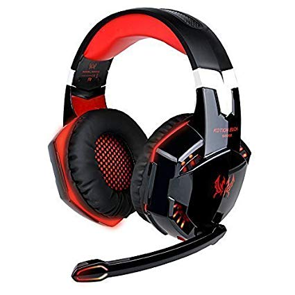 EasySMX Gaming Heaset Comfortable LED 3.5mm Stereo Gaming Over-Ear Headphone with Mic for PC Computer Game (Red)