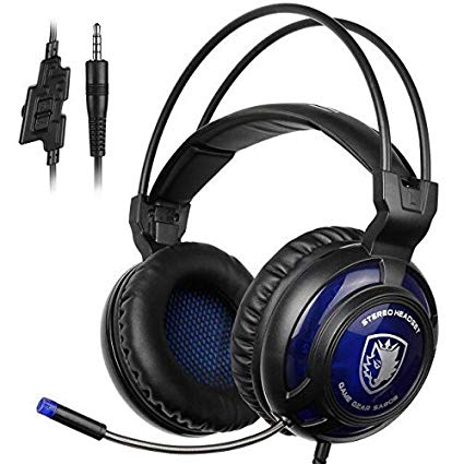 SADES SA805 Gaming Headset for Xbox one PC PS4 Computer Games, Noise Isolation Surround Stereo Soft Earmuffs Over-ear Headphones with Mic