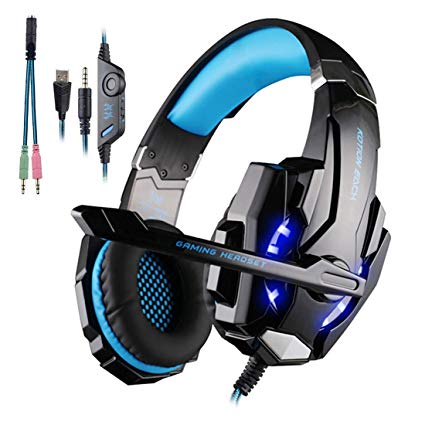 KOTION EACH G9000 3.5mm Stereo Game Gaming Headphone Headset Earphone Headband with Mic LED Light for Laptop Tablet Mobile Phones PS4 PlayStation 4 - Black and Blue