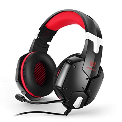 Wired PC Gaming Headset Over Ear Stereo Bass Headphone with Ambient Noise Reduction Mic 3.5mm plug cable for PS4 PC Smart Phone (Red)