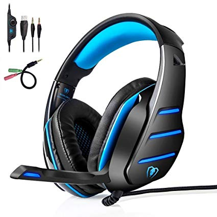 Gaming Headset | PS4 Xbox One Headset | LOL-FUN Noise Cancelling Wired Stereo Bass Game Xbox Headphones Over-ear with Microphone LED Light Volume Control Splitter for PC Laptop Tablet (Black and Blue)