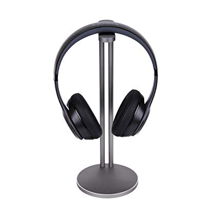 Emmabin Universal Aluminum Headphone Stand Holder, Generic Modern Fashion Headset Holder / Desk Display Hanger / Headphone Bracket for All Size Gaming and Audio Headphones Single Grey