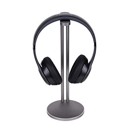 Emmabin Universal Aluminum Headphone Stand Holder, Generic Modern Fashion Headset Holder / Desk Display Hanger / Headphone Bracket for All Size Gaming and Audio Headphones Single Grey