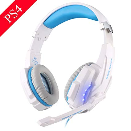 EasySMX G9000 PS4 Stereo Gaming Headset with Mic LED Lighting Noise Cancellation and In-line Controller Compatible with PS4 Mobile Phones Laptop Tablet and Computer (White and Blue)