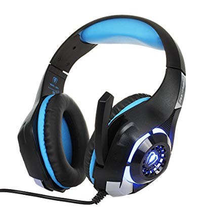 LMTECH Gaming Headset Gaming Earphone for PlayStation 4 Headphone Gamer with Microphone LED Light for PS4 headset / PC Gaming / Laptop Gaming / Mac /iPhone, Headset Splitter included (Black & blue)