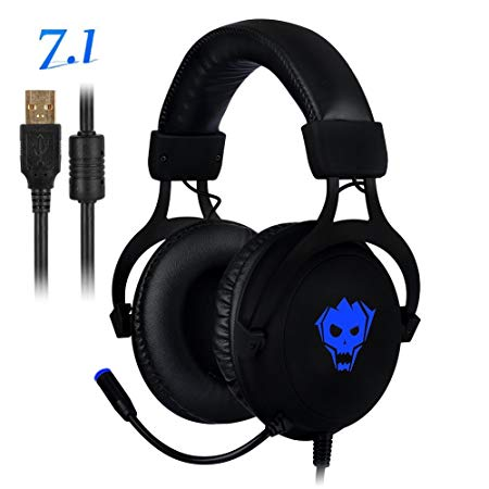 PC Gaming Headset,AWON Professional 7.1 Channel Virtual USB Surround Stereo Earphones with 57mm Driver Wired Gaming Headset,Noise Isolating LED light,Gaming Headphone for PC,Laptop, Computer(Black)