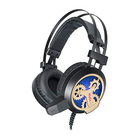Mailin G891 Professional Gaming Headset for PS4, PC, Xbox One Controller, Noise Cancelling Over Ear Headphones with Mic, LED Light, Bass Surround, Soft Memory Earmuffs for Laptop Mac - Black and Gold