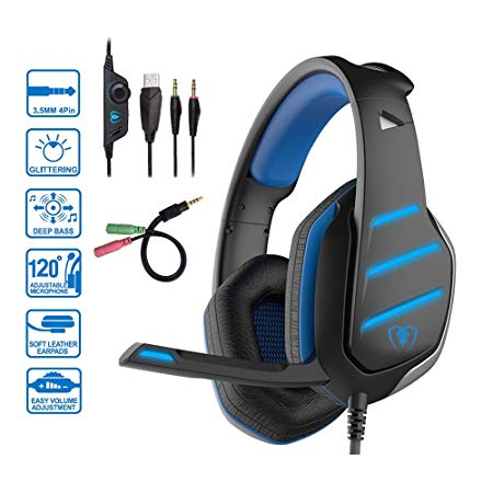 Beexcellent GM-3 Pro Wired Gaming Headset with Mic, LED Lights and Volume Control Stereo Over-Ear Bass Noise Cancelling, for PS4 Xbox One, Laptop, PC, Tablet, Most Smartphones(Blue)