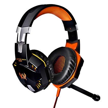KOTION EACH G2000 Over-ear Game Gaming Headphone Headset Earphone Headband with Mic Stereo Bass LED Light for PC Game (Orange)