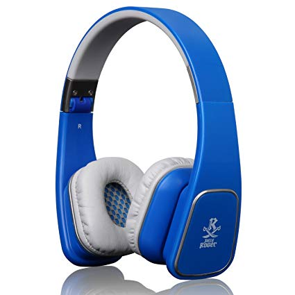 Jolly Roger M1 Over-Ear Headphone Stereo Headset In-line Mic Volume Control 3.5mm Foldble Gaming Earphones for PS4 iOS Android Smart Phone Tablet PC (Blue)