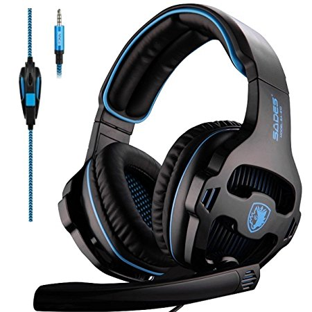 PS4 Headset,SADES 810 Xbox One Mic Gaming Headset Gaming Headphones with Microphone for For New Xbox one PS4 Laptop Mac Tablet iPhone iPad iPod(Black)
