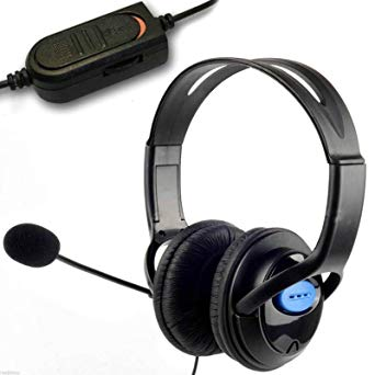 Kabalo Deluxe Padded Headset Headphones with Microphone Boom, Wired Volume Control, 3.5mm Jack for PlayStation 4, PS4 Controller & PC