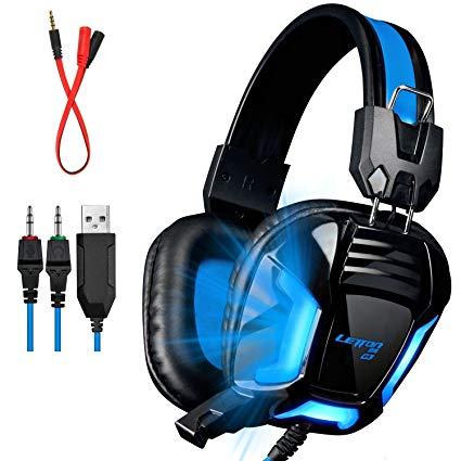 LETTON G3 Upgraded Version With Adapter Cable 3.5mm PC Gaming Stereo Gaming Headsets Headphones with Mic for PC/PS4/XBOX ONE/XBOX 360/Laptop/Mobile/iPhone/iPad(Black)