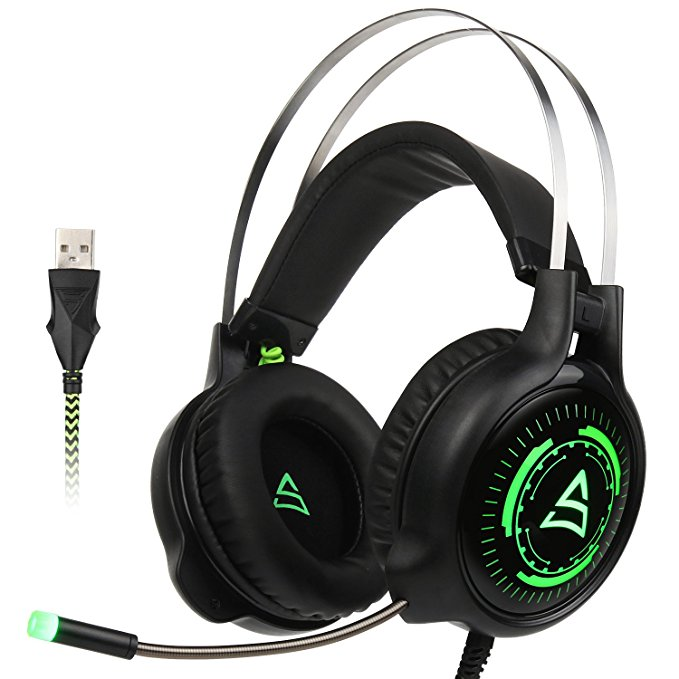 SUPSOO G815 Over-Ear Stereo PC Mac Gaming Headset USB LED Light Gaming Headphone with Microphone Noise Isolating Volume Control(Black)
