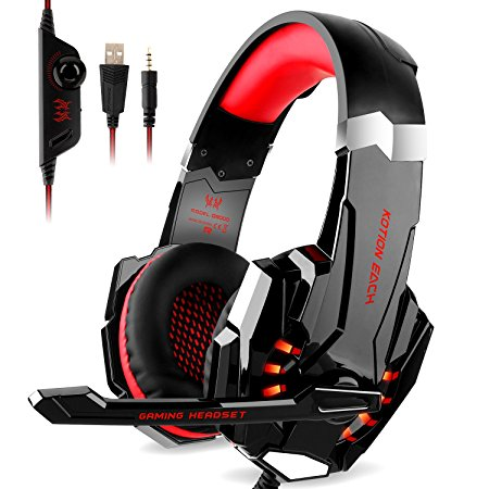 Stereo Gaming Headset for PS4, PC, Xbox One Controller,DIZA100 Over Ear Bass Gaming Headphones with Mic, LED Light,Bass Surround for Computer Laptop Mac Nintendo Switch Games -Red