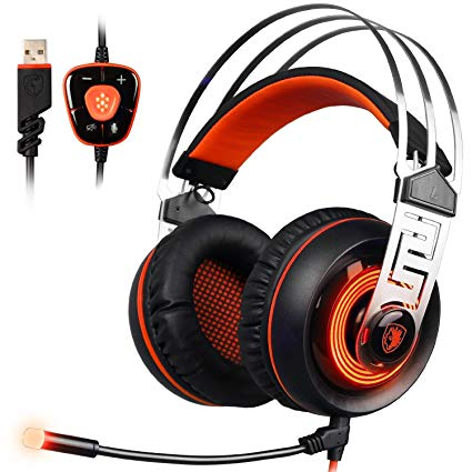 Gaming Headset , SADES A7 PC Headsets USB Gaming Headphone Over-ear Headphones with Microphone LED Lights Volume Control